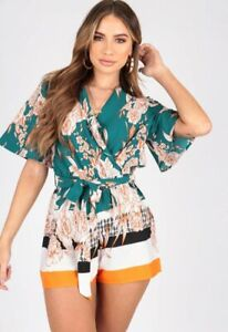 Womens-Ladies-Border-Print-Playsuit-With-Kimono-Sleeves-and-Self-Fabric-Belt