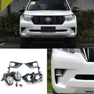 2Pcs Front Chrome Grills Bumper Driving LED DRL Fog Lights For Toyota Prado 2018