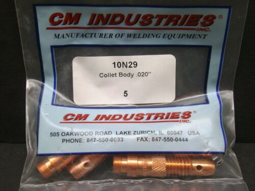 5 NEW IN PACK TIG TORCH COLLET BODY .020 10N29 CM INDUSTRIES