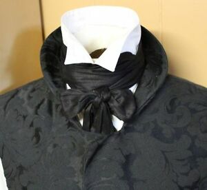 Wholesale-Regency-Victorian-Ascot-Cravat-Tie-Black-Dupioni-Silk-4x78