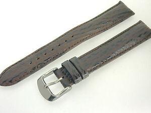# L098 # Uhrenarmband Haifisch Leder Bracelet Extra-lang 18 Mm Xl Braun Polster Reinigen Der MundhöHle.