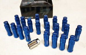 NRG-STEEL-EXTENDED-LOCKING-LUG-NUTS-amp-DUST-CAP-COVER-SET-12X1-5-BLUE-Set-of-20