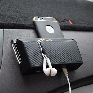 Universal Car Dash Mount Storage Box Pouch Phone Charging Holder Carbon Look New