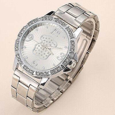 Geneva Women's Bling Crystal Rhinestone Dial Stainless Steel Quartz Wrist Watch
