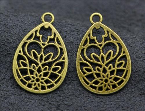 6//30//150pcs Lot Tibetan Silver Hollow Flower Jewelry Charm Pendant 28x18mm A586C
