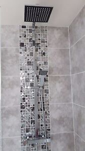 Charming Image Is Loading Glass Saturn Mosaic Modular Silver Tiles Chrome Bathroom  Part 22