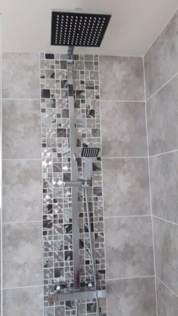 Glass Saturn Mosaic Modular Silver Tiles Chrome Bathroom Kitchen .