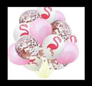 Flamingo Konfetti Luftballon Set 15 Stk Kinder Geburtstag Jga