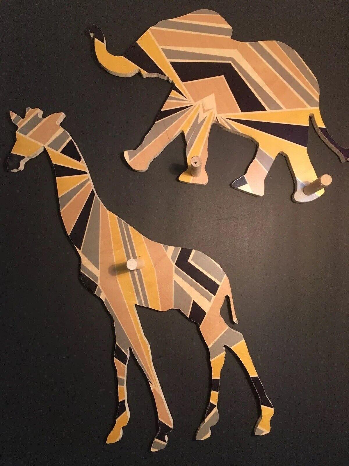 Wolfum Land Of Nod Elephant+Giraffe Pieces w  Wooden Wall Hooks for Kids Nursery