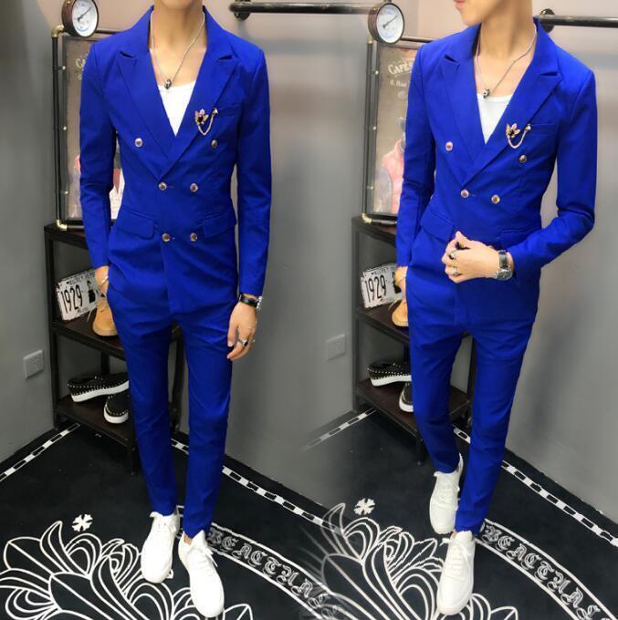 Mens Double breasted Blazers Suit Lapel Slim Fit Dress Casual Coat Pants 2PCS SZ