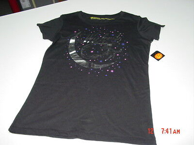 Womens T-Shirt Rhinestone Bling Black Fitted Tee Happy Halloween Bat Witch Hat