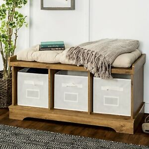 Strange Details About Rustic Storage Bench W Drawer Cushion Barnwood Finish Entryway Home Farmhouse Gmtry Best Dining Table And Chair Ideas Images Gmtryco
