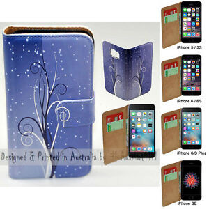 For-Apple-iPhone-Series-Case-Blue-Swirl-Print-Flip-Wallet-Phone-Case-Cover