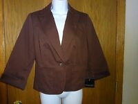 Women's Apostrophe Brown Blazer Size 6 Msp $58.00 Lined 3/4 Sleeves