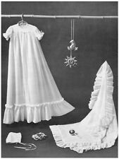 Diagram Sewing Pattern to Make Babies' Christening Robe, Bonnet and Shawl