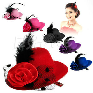 Lady-Mini-Feather-Rose-Top-Hat-Cap-Lace-fascinator-Hair-Clip-Costume-Accessory