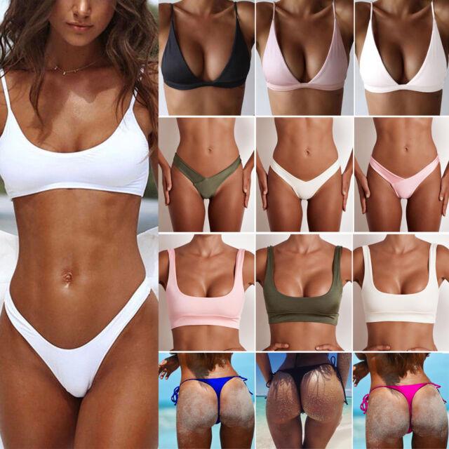 Donna Fascia Bikini Reggiseno Push Up Maglia Brasiliano Tanga Pantalone