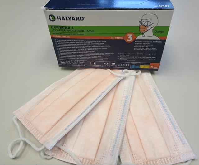 Halyard ASTM Level 3 Kimberly Clark USA Orange Fluidshield 47107 Face Masks