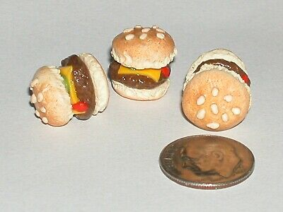 2pc Tiny Miniature dollhouse Bagel Cheese Burger hamburger Loose food snack NEW