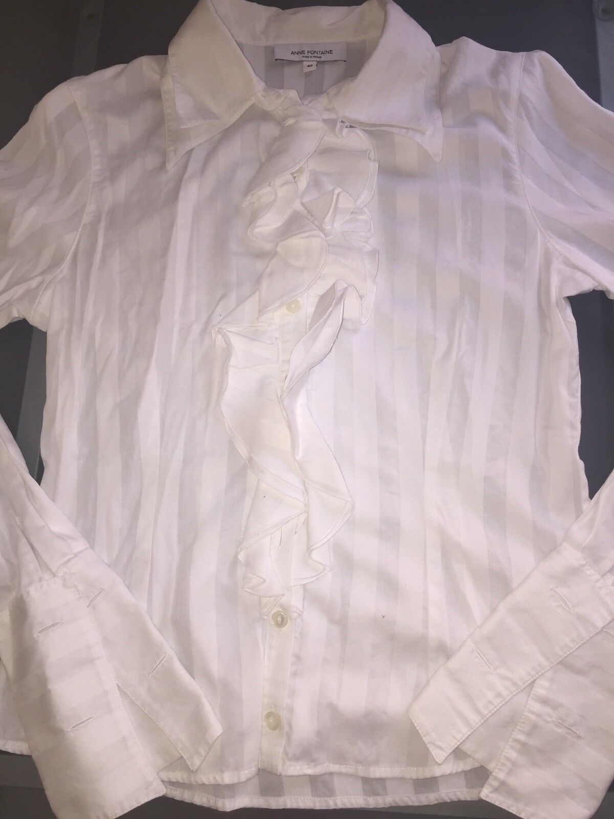 Anne Fontaine White Ruffled Blouse-Sz.40  - image 2
