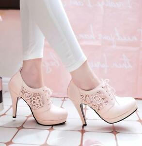 Women-Round-Toe-Ankle-Boots-Lace-Up-Platform-Stilettos-High-Heel-Mesh-Shoes-Lace