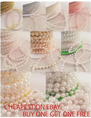 1m Di Perle Sulla Stringa-white & Ivory Cake Wedding Cucito Arts And Crafts-