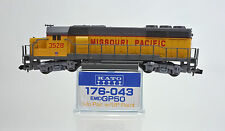 KATO N SCALE 176-043 MISSOURI PACIFIC EMD GP-50 DIESEL ENGINE #3528 U.P. PAINT