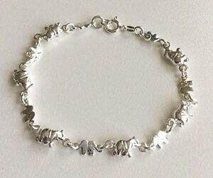 925 Silver Elephant Bracelet 7 25 Long