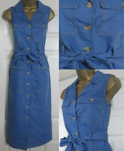 NEW Warehouse Womens Denim Midi Shirt Dress Sleeveless Belted ...