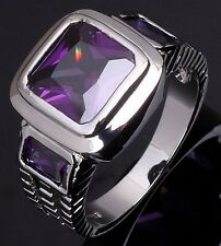 Size 8 Jewelry Mens Glittering Amethyst 18K Gold Filled Fashion Engagement Ring