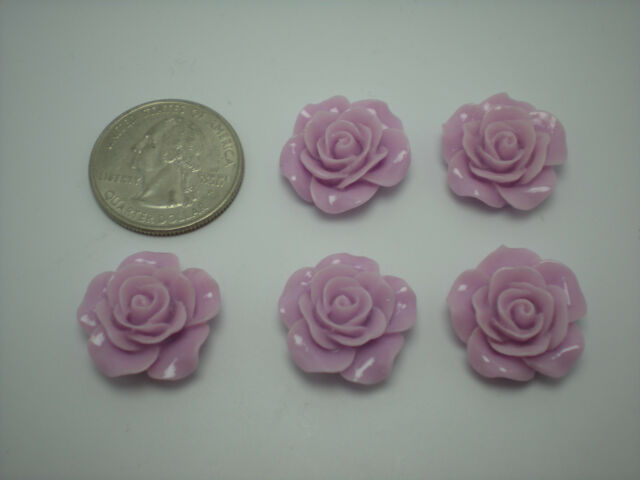 Lot of 5 Large Colored YOU CHOOSE Roses Cabochon/Flatback Resin Embellishments