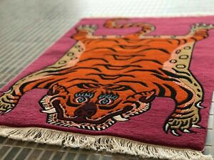 Authentic Handmade Rectangle Tibetan Tiger Rug Carpet Runner 2ftx3ft  Home decor