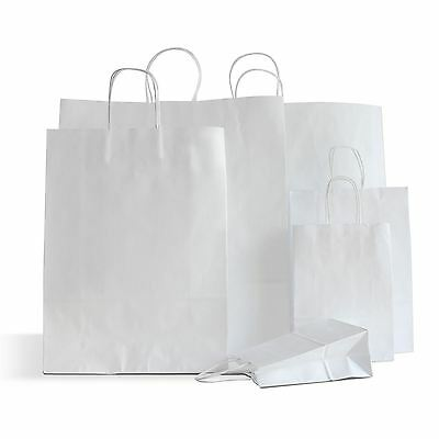 10 x White Paper Bags Twisted Handles 23x32+10cm Wedding Favour Bags Gift Bags 5060496786708 | eBay