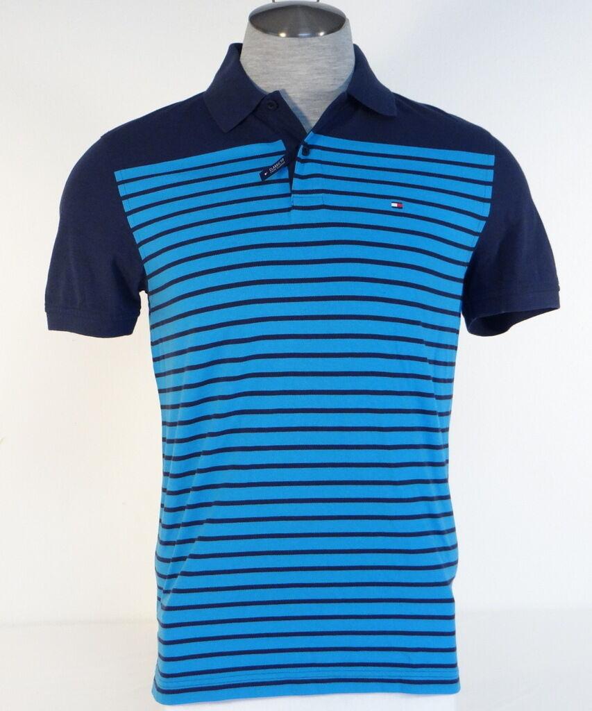 Tommy Hilfiger Classic Fit Blau Stripe Cotton Short Sleeve Polo Shirt  Herren NWT