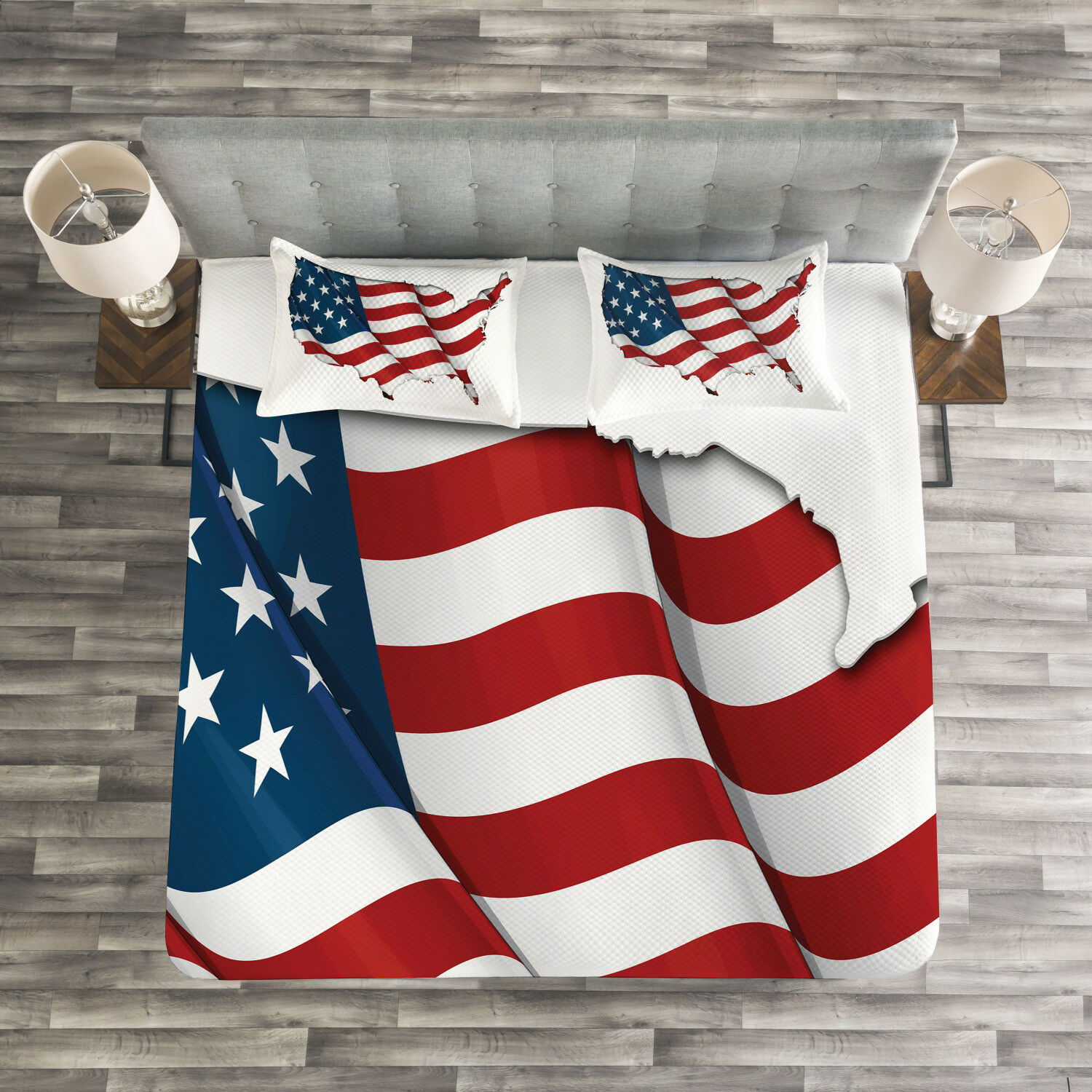 World Map Quilted Bedspread & Pillow Shams Set, United States Flag Print