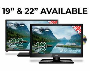 "12v/240v 19""/22"" inch CELLO TRAVELLER CARAVAN TV FREEVIEW HD DVD & MIRACAST NEW"