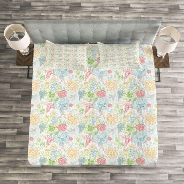 100% Kwaliteit Doodle Quilted Bedspread & Pillow Shams Set, Trace Style Flora Fauna Print