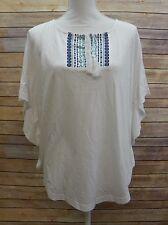 American Living Womens Short Sleeve Top Shirt Tee White Blue Detail M JM1001
