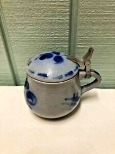 Cobalt Blue and Grey Salt Glazed Pottery Condiment Jar Lid Jam Mayo Mustard