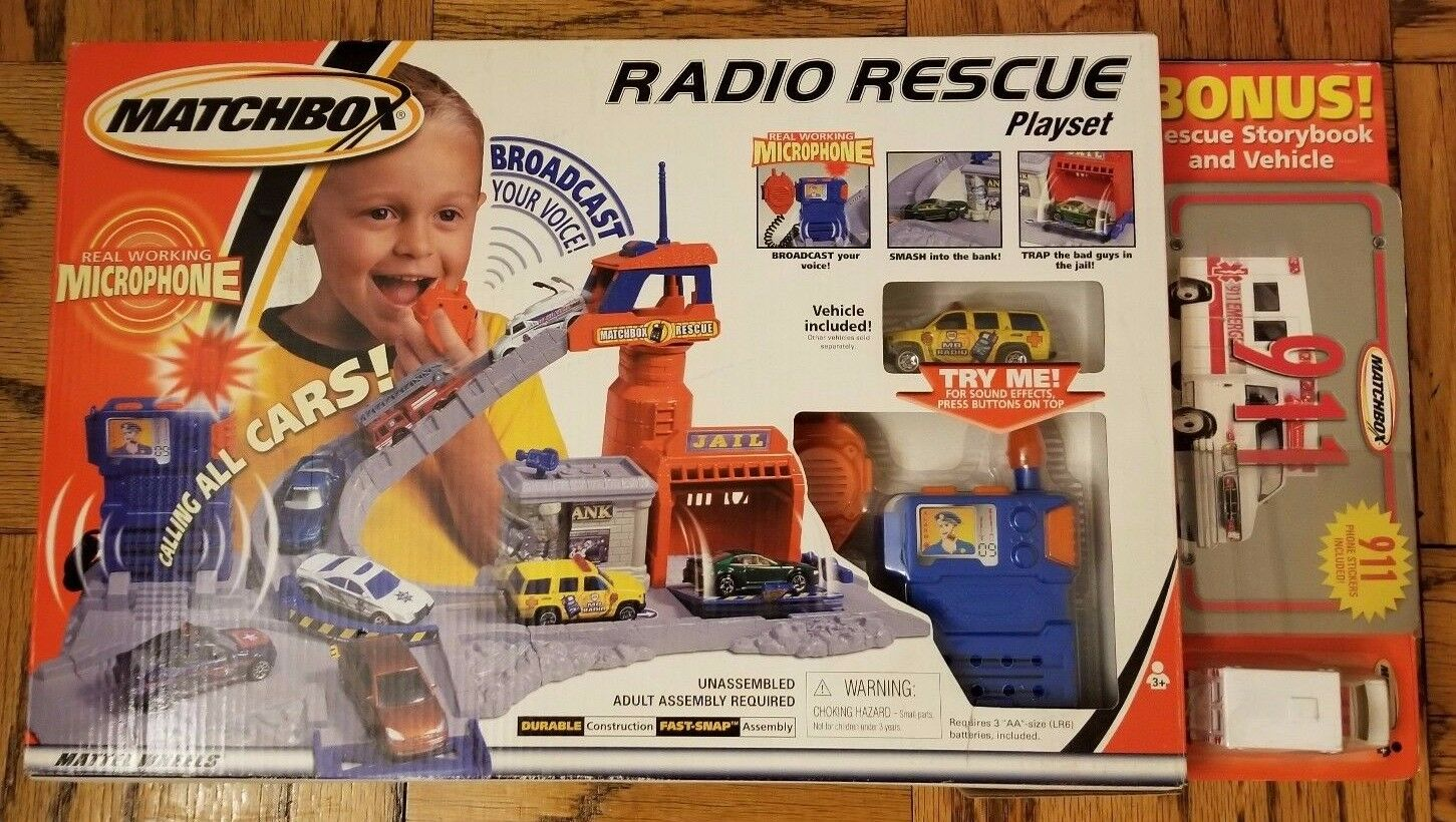 1 2001 Matchbox Radio Rescue Playset w 2 Vehicle included, NEW NEVER OPENED