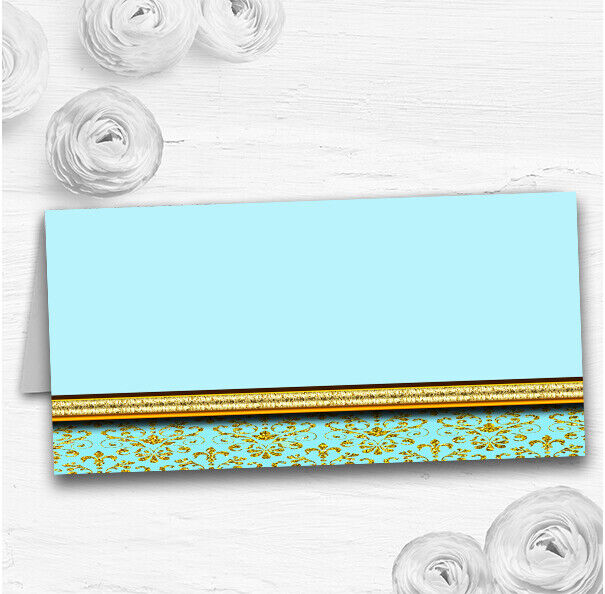 Aqua Sky Blau & Gold Vintage Damask Wedding Table Seating Name Place Cards