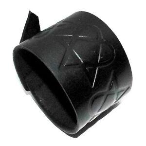 heartagram-symbol-black-Leather-Cuff-Bracelet-will-fit-small-to-large-HandmadeUK