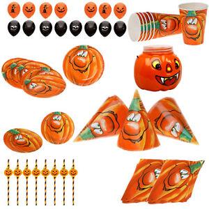 68 Tlg Kinder Party Tisch Set Halloween Deko Motiv Lustiger Kurbis