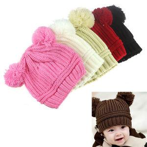 Baby-Kids-Girls-Boys-Dual-Balls-Warm-Winter-Knitted-Caps-Hats-Beanie-2015-Cute