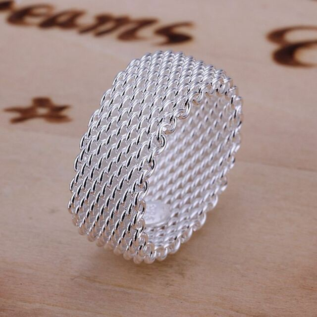 *UK* 925 SILVER PLT THICK WOVEN CHAINMAIL MESH BAND RING WIRE CHAIN WICKER THUMB
