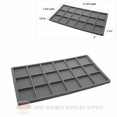 (1) Gray Compartment Organizer Display Inserts For Jewelry Cases and Trays