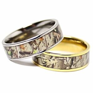 TITANIUM His amp Hers REAL OAK Camo Wedding Rings Camouflage