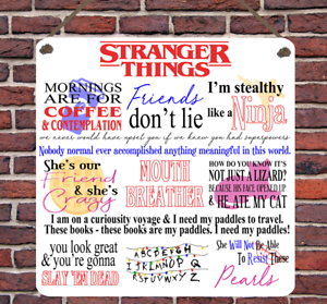 Stranger Things TV Show Quotes Netflix Metal Hanging Plaque Sign Present Gift