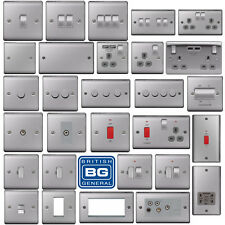 BG Brushed Steel Light Switches & Sockets Full Range Satin Chrome Grey Inserts