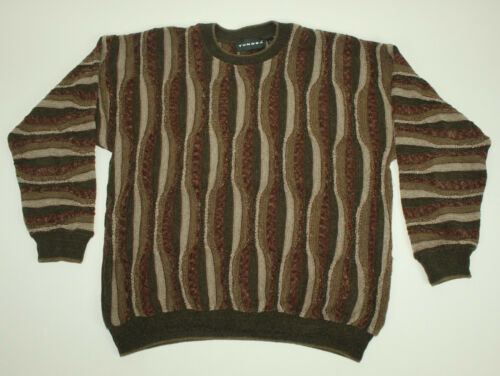 L Crazy Canada Lines Wavy Tundra uomo Large 3d Cosby da Beige Acrylic Maglione Vtg 0q6zwR